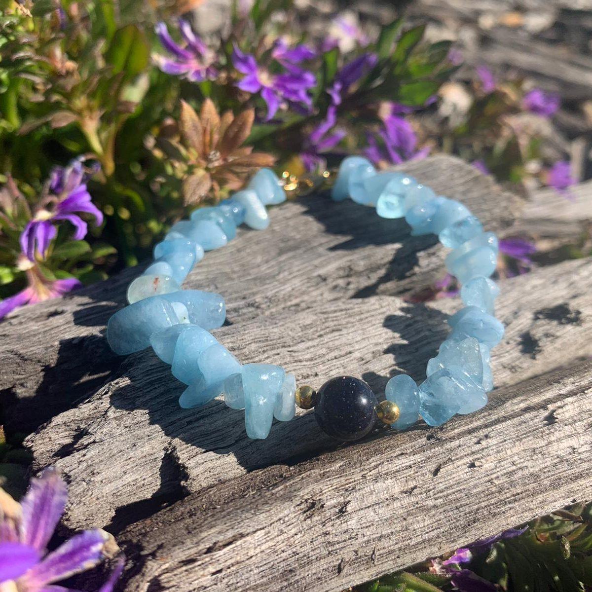 Aquamarine, Blue sand stone Bracelet